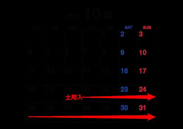 2021年10月秋土用カレンダー