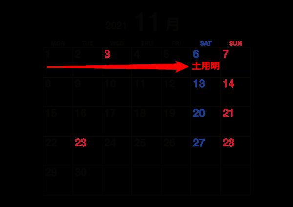 2021年11月秋土用カレンダー
