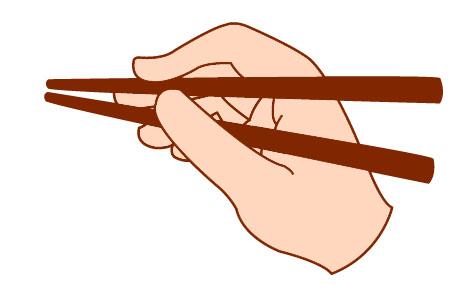 箸を2本持った手