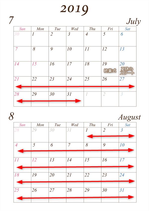 7月から8月の夏休み期間
