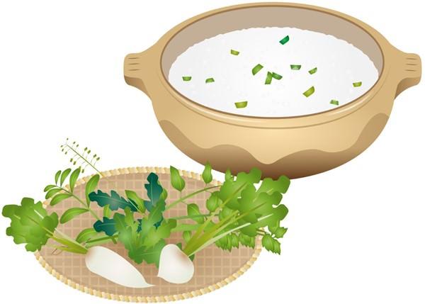 七草と土鍋の粥