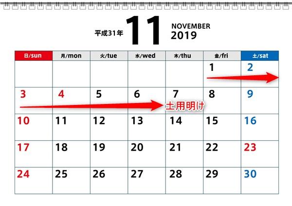 秋土用の11月カレンダー