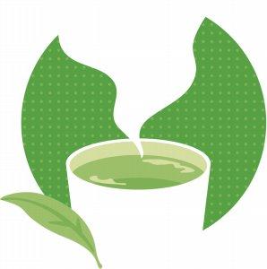 緑茶の茶葉とコップ