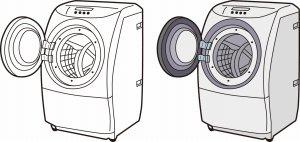 ドラム式の洗濯機の蓋オープン