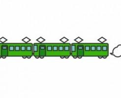 緑の色の電車