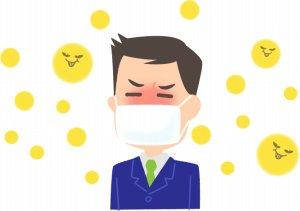 マスクをかけた花粉症のサラリーマン