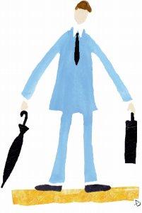 傘を畳んだサラリーマン