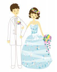 ウエディングドレスの花婿と花嫁