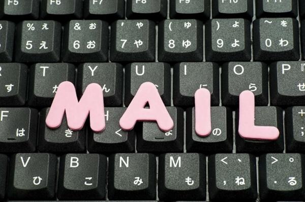 キーボードとメールの文字