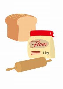 小麦粉と材料器具