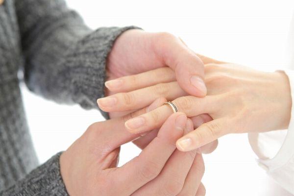 婚約指輪を付ける男女の手