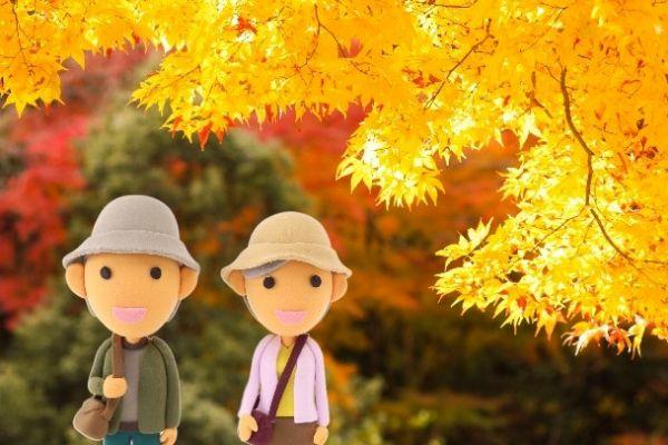 紅葉狩りに来た夫婦