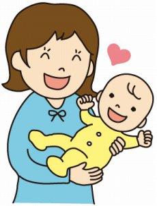 満面の笑顔の母親と赤ちゃん