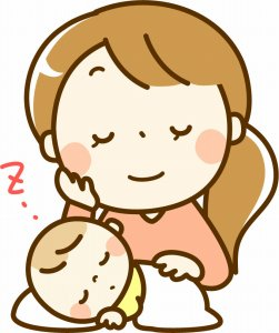 赤ちゃんを寝かしつける母親