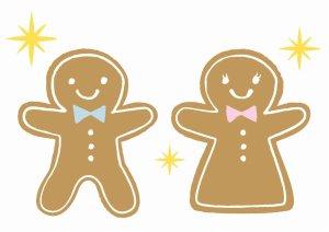 男女の子供の形のクッキー