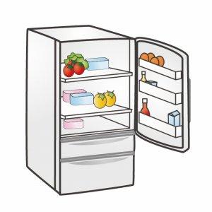 蓋が開いた冷蔵庫