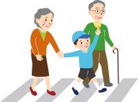 歩く老人と子供