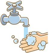 流水での手洗い