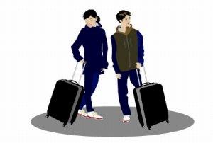 男女の旅行者