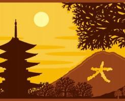 夕景の寺院と大文字